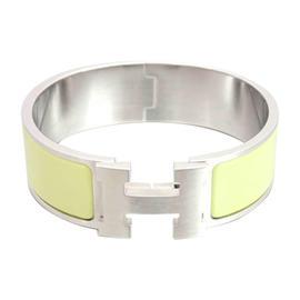 Hermes Silvertone Light Green Enamel Bangle Bracelet