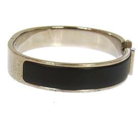 Hermes H Logos Click Clack Silver Black Bangle