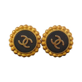 Chanel CC Logos Button Earrings Gold