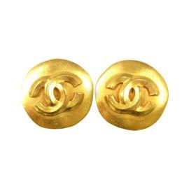 Chanel CC Logos Button Gold Tone Earrings