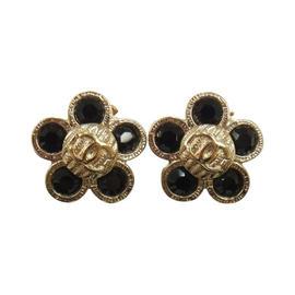 Chanel CC Logos Flower Motif Earrings