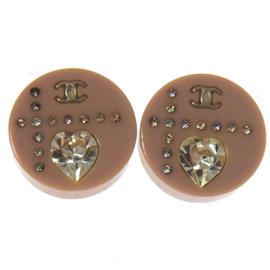 Chanel CC Logos Rhinestone Plastic Earrings