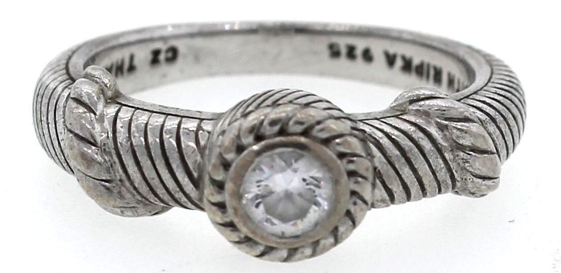 "Image of ""Judith Ripka 925 Sterling Silver Cubic Zirconia Rope Cable Ring"""