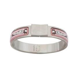 Hermes Clic Clac Silvertone Enamel Pink White Bangle Bracelet