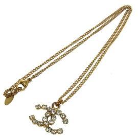Chanel CC Logos Rhinestone Gold Chain Necklace