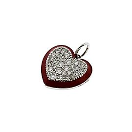 Tiffany & Co. Red Enamel & Platinum Diamond Heart Charm Pendant