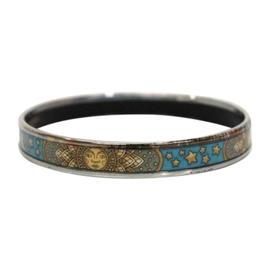 Hermes Enamel Cloisonne Blue Based Bangle Bracelet