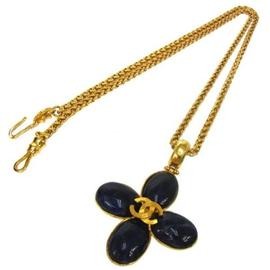 Chanel Gold Tone and Blue Stone CC Logos Necklace
