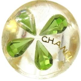 Chanel Clear and Green Plastic CC Logos Ring Size 7