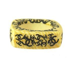 Chanel CC Logos Gold Tone Beige Ring