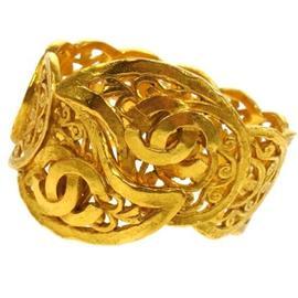 Chanel Gold Tone CC Logos Bangle Bracelet