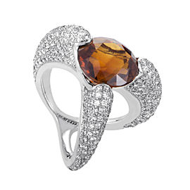 Salavetti 18K White Gold Diamond Pave and Orange Citrine Ring Size 4.75