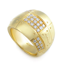 Wide 18K Yellow Gold Diamond Band Ring