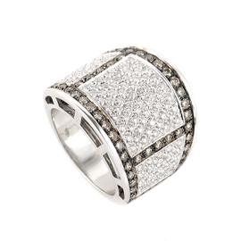 18K White Gold Cognac & White Diamond Band Ring