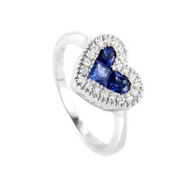 Salvini 18K White Gold Sapphire & Diamond Heart Ring