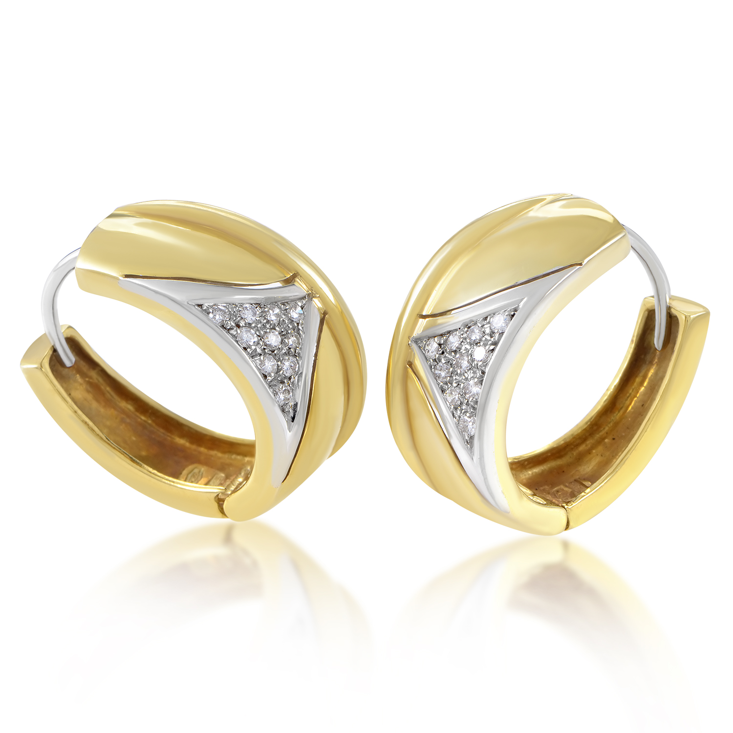 "Image of ""Salvini 18K Multi-Tone Gold & Diamond Hoop Womens Earrings"""