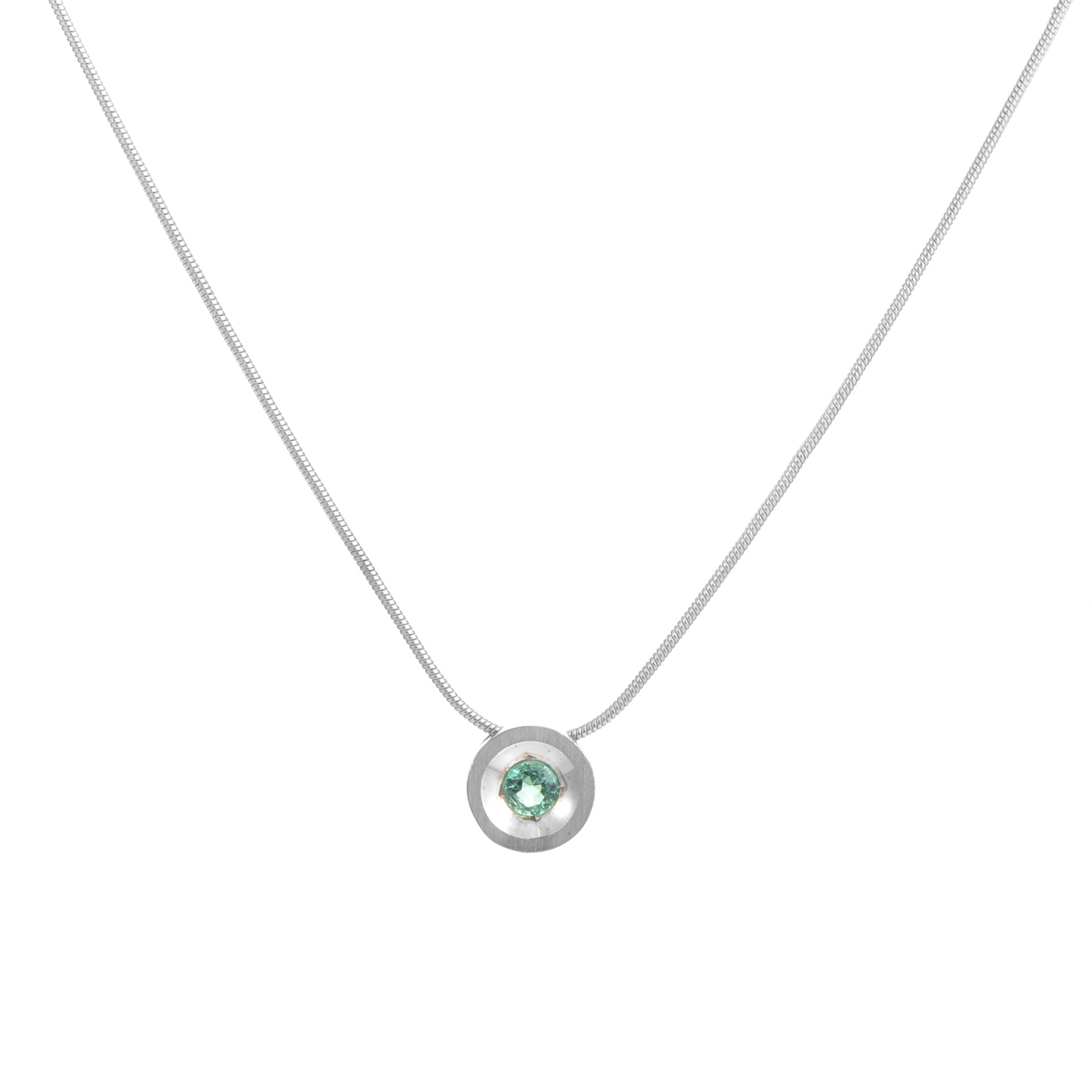 "Image of ""18K White Gold Emerald Pendant Necklace"""