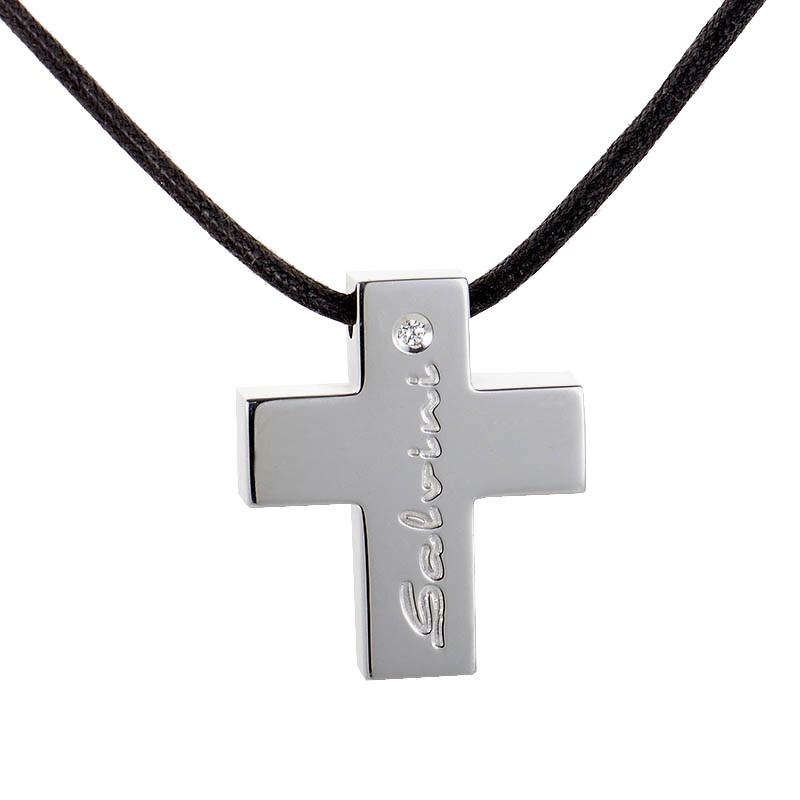 "Image of ""Salvini 18K White Gold & Diamond Crucifix Pendant"""