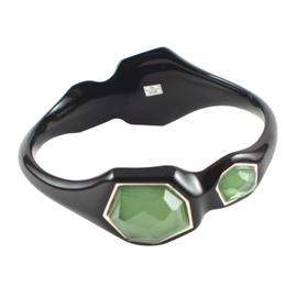 IPPOLITA Black Resin Sterling Silver 4 Stone Green Seagrass Bangle