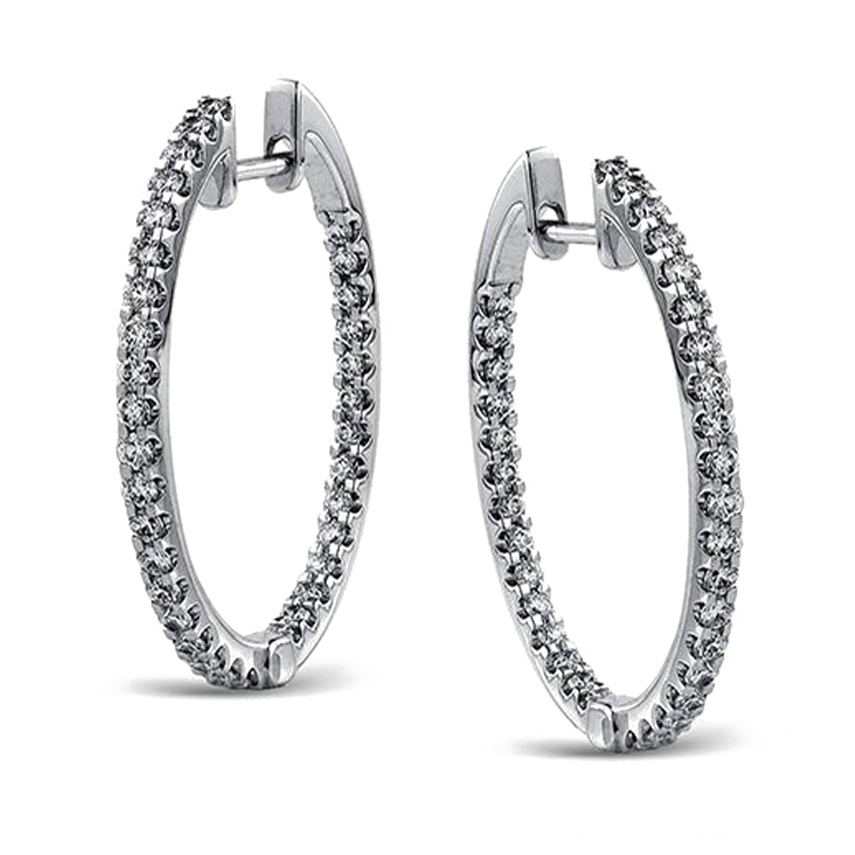 "Image of ""Simon G 18K White Gold 0.75ct. Diamond Hoop Earrings"""
