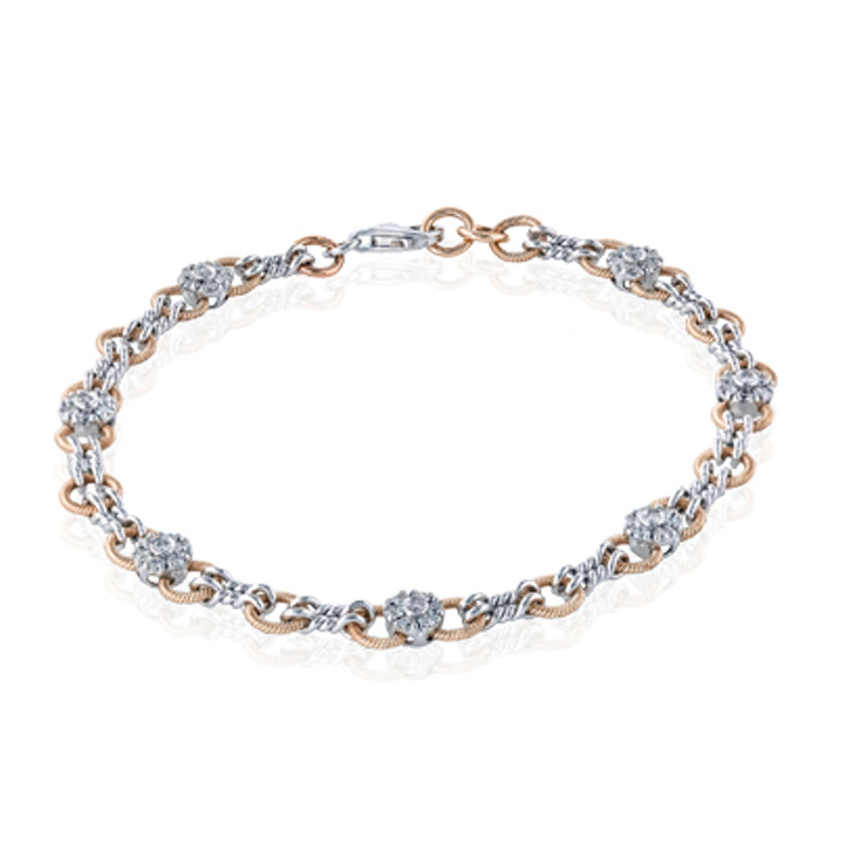 "Image of ""Simon G 18K White & Rose Gold 0.67ct. Diamond Link Bracelet"""