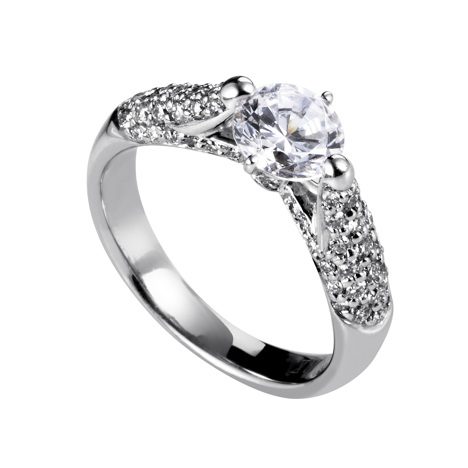 "Image of ""Simon G. Women's 18K White Gold Diamond Engagement Ring"""