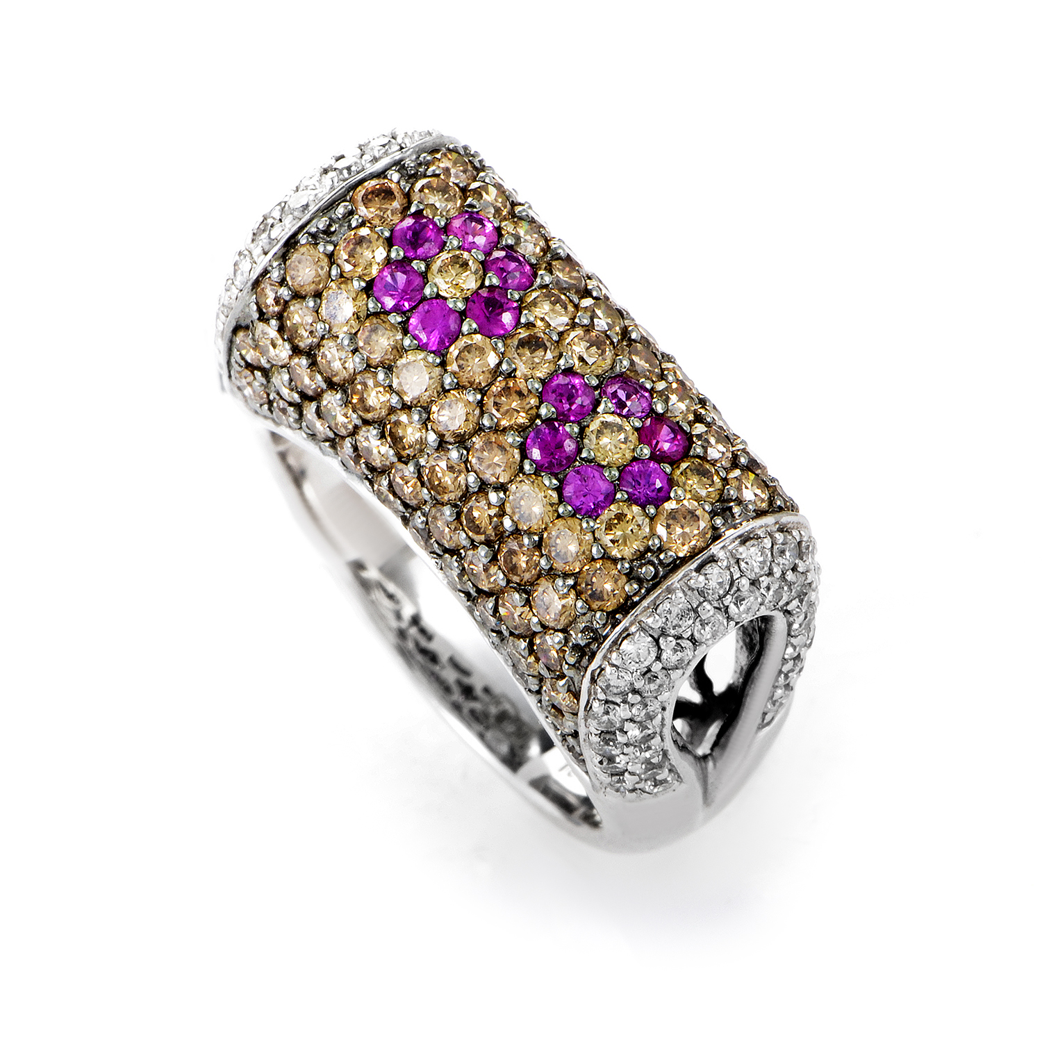 "Image of ""Sonia B. 18K White Gold Multi-Diamond & Pink Sapphire Ring"""