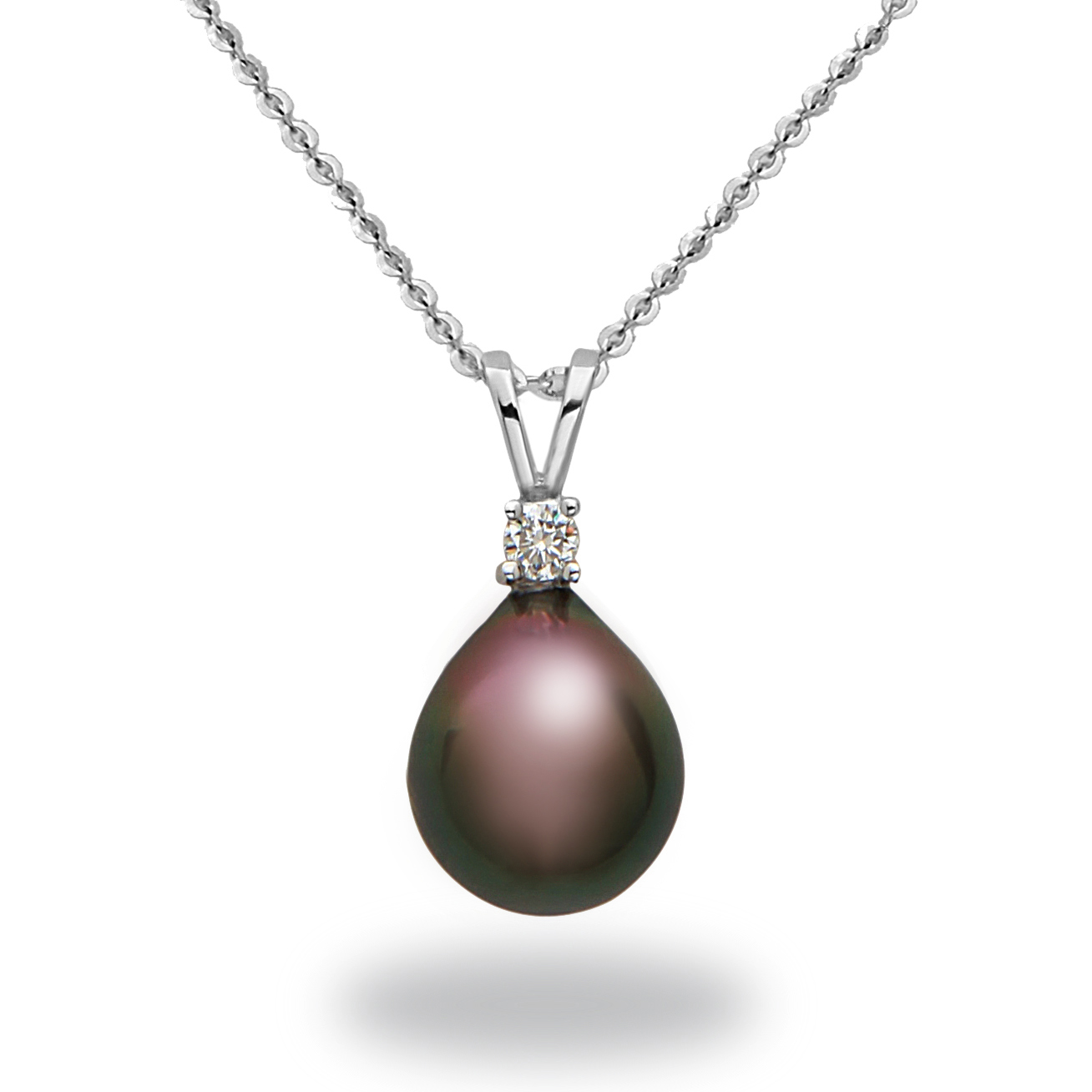 "Image of ""14k White Gold Natural Color Tahitian Pearl & Diamond Pendant Necklace"""