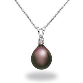 14k White Gold Natural Color Tahitian Pearl & Diamond Pendant Necklace