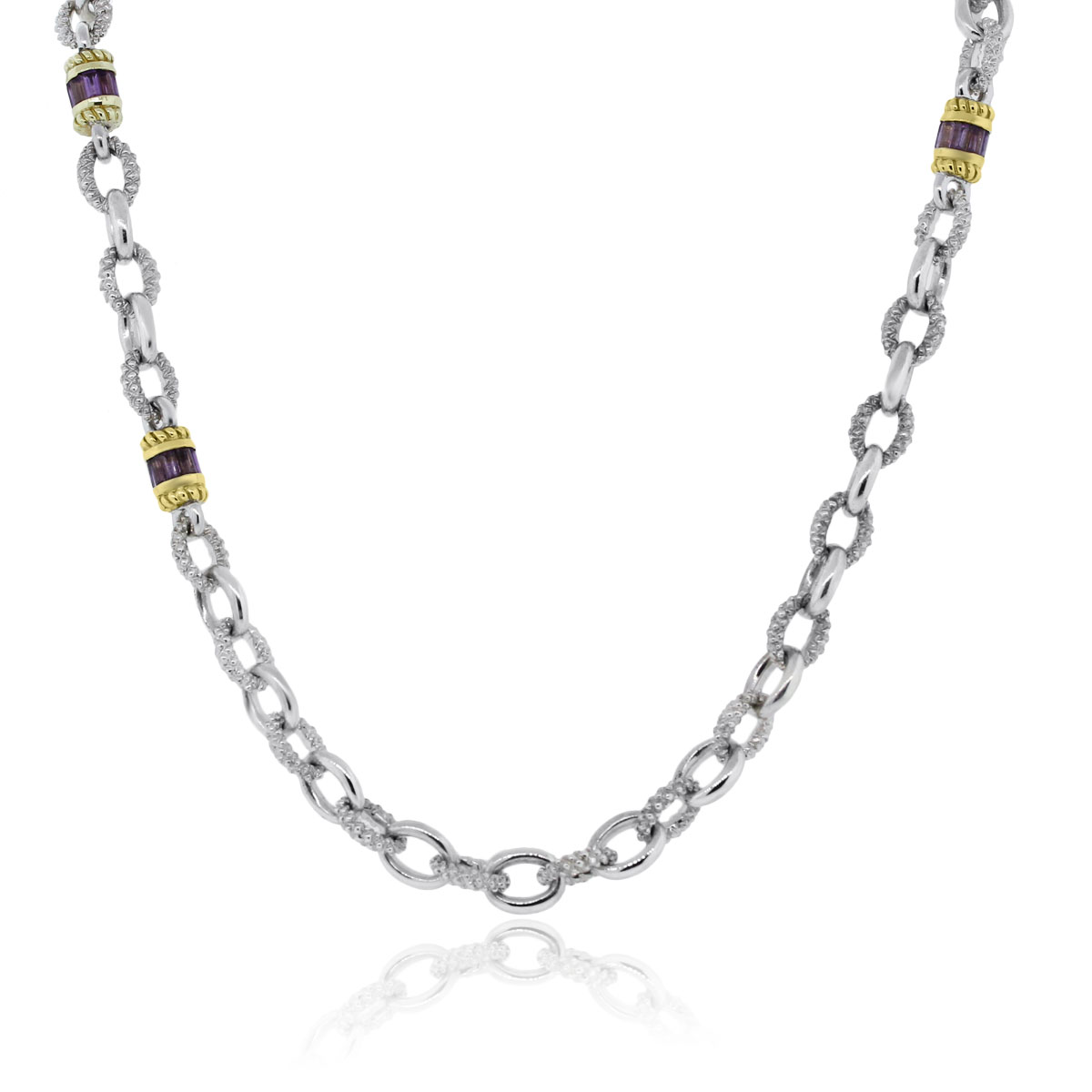 "Image of ""Judith Ripka 925 Sterling Silver and 18K Yellow Gold Amethyst Necklace"""