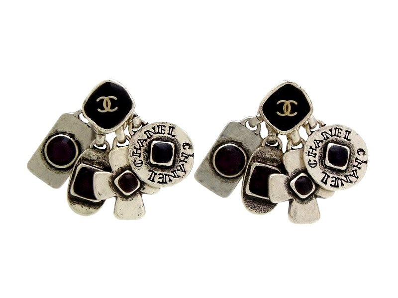 "Image of ""Chanel Silver Tone Metal & Black Stone Stud Dangle Earrings"""