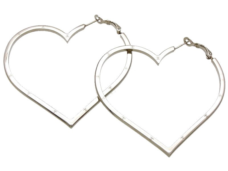 "Image of ""Chanel CC Logo Silver Tone Metal Big Heart Stud Earrings"""