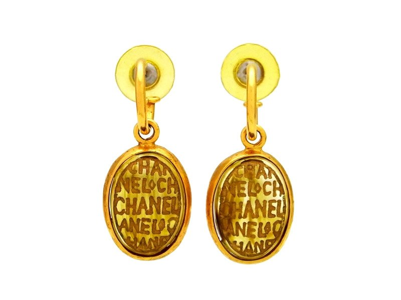 "Image of ""Chanel Logo Gold Tone Metal Glass Stone Dangle Stud Earrings"""