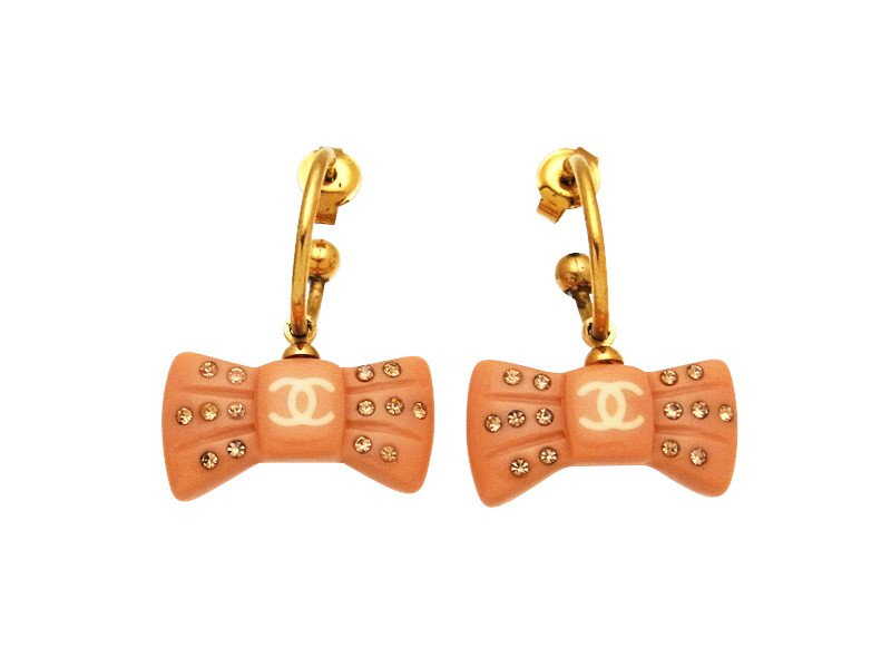 "Image of ""Chanel CC Logo Gold Tone Metal Ribbon Rhinestone Dangle Stud Earrings"""