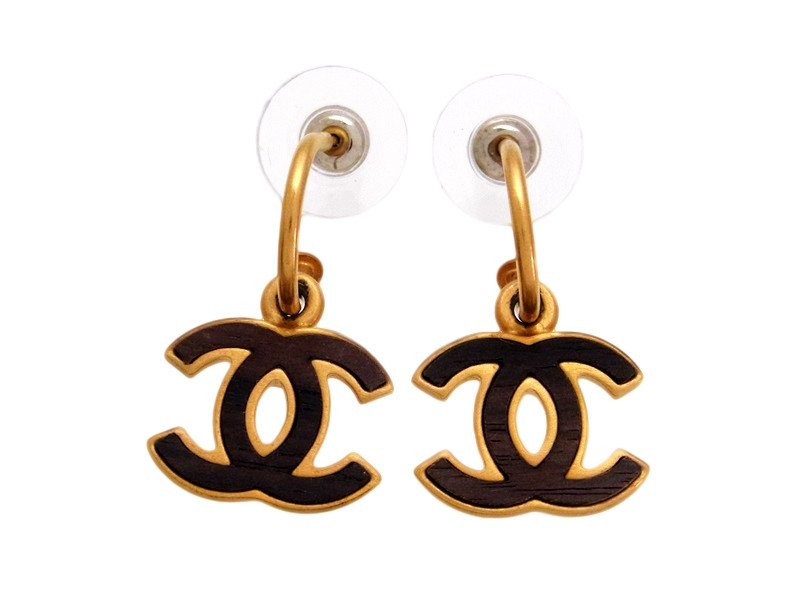 "Image of ""Chanel Gold Tone Metal Wood CC Logo Dangle Stud Earrings"""