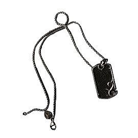 Stephen Webster Sterling Silver Onyx Black & Silver Dogtag Necklace