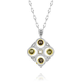 Tacori Smokey and Olive Quartz Silver Necklace