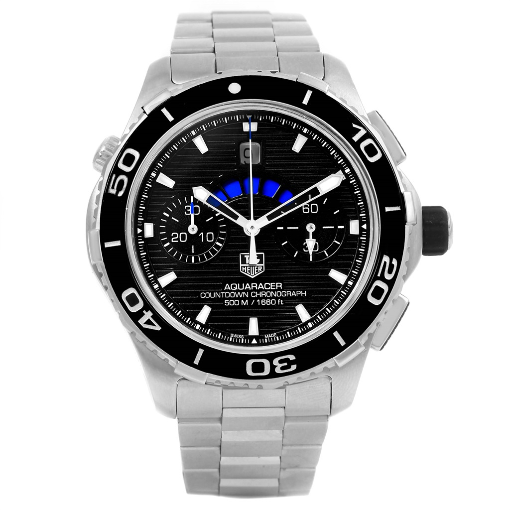 "Image of ""Tag Heuer Aquaracer Cak211A Stainless Steel Black Dial Automatic 43mm"""