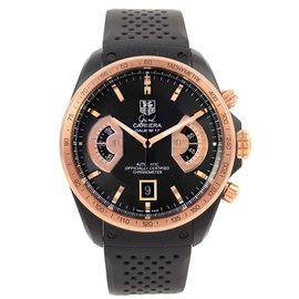 Tag Heuer Grand Carrera CAV518E Black PVD Rose Gold & Rubber 43mm Mens Watch