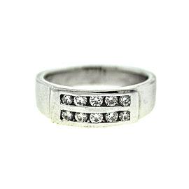 14k White Gold Two Row Diamond Ring