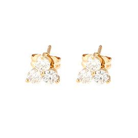 14K Yellow Gold Triple Triangle Stud 0.62CT Diamond Earrings