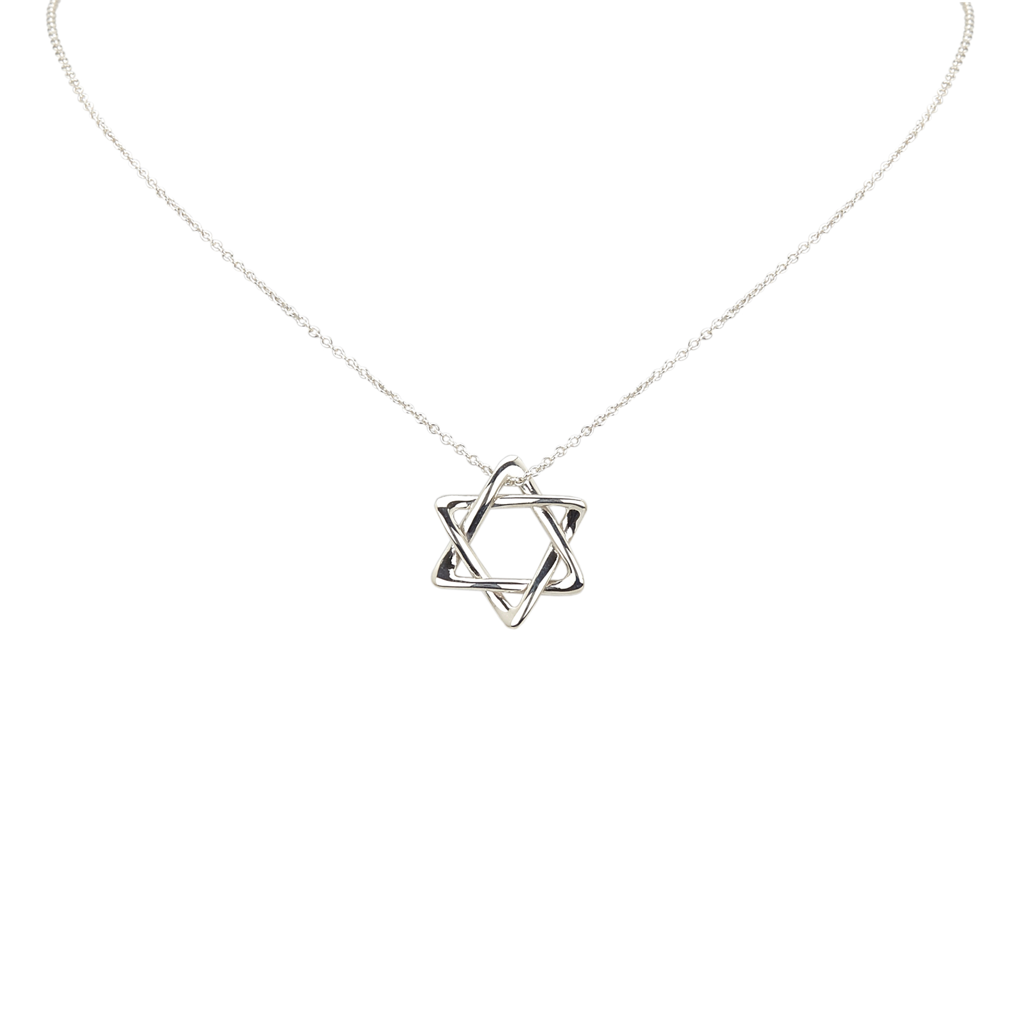 "Image of ""Tiffany & Co. 925 Sterling Silver Star of David Pendant Necklace"""