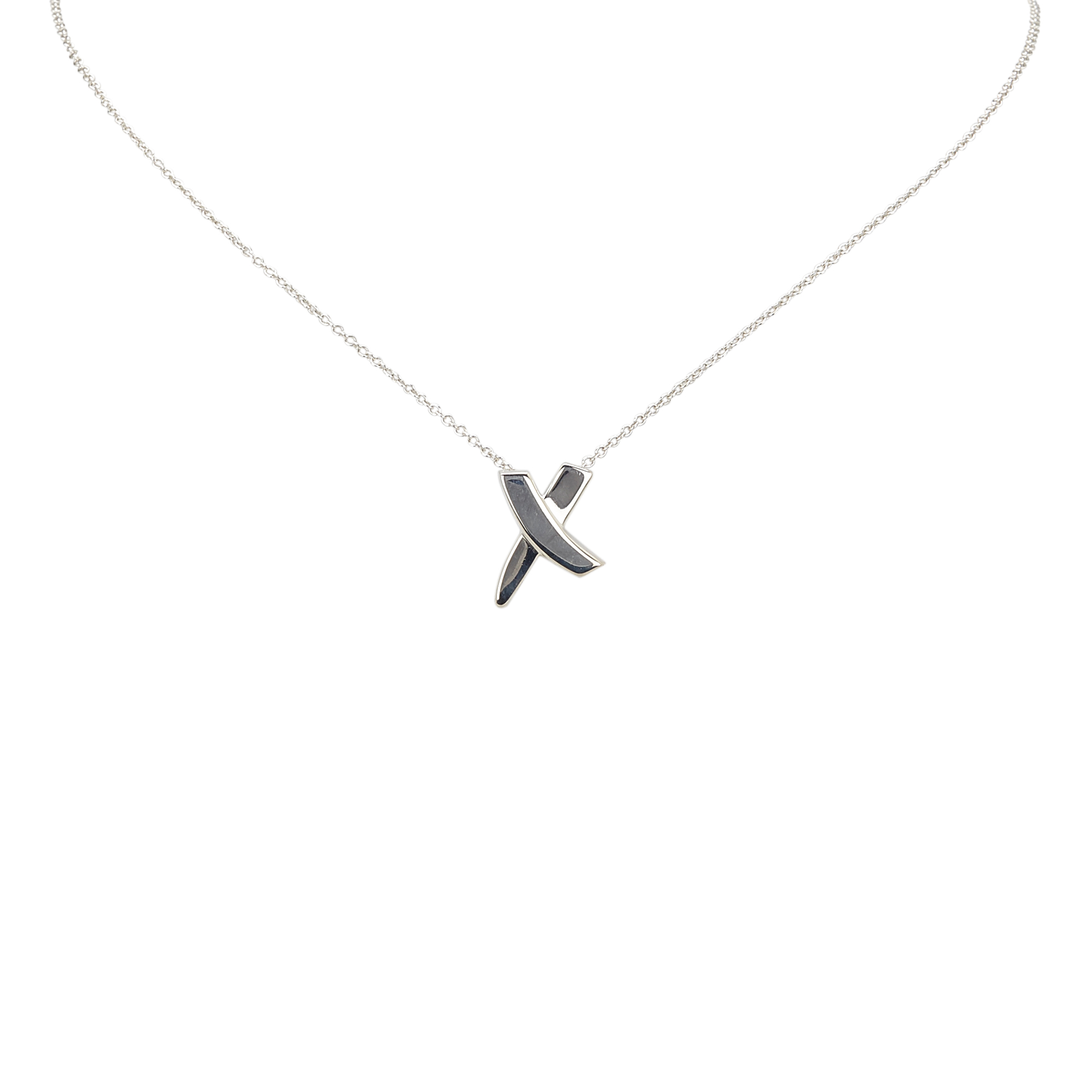 "Image of ""Tiffany & Co. 925 Sterling Silver Letter X Pendant Necklace"""