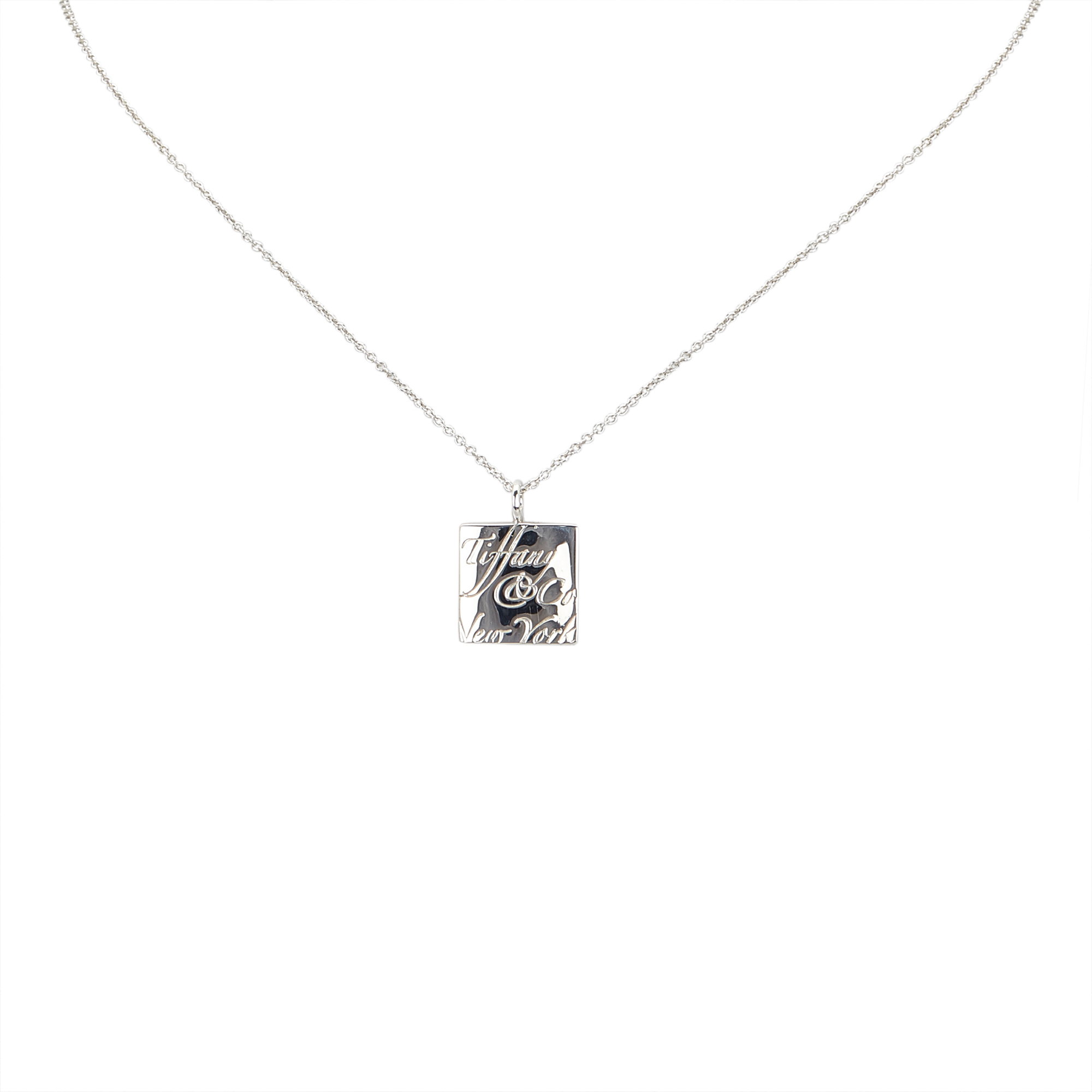 "Image of ""Tiffany & Co. 925 Sterling Silver Notes Square Pendant Necklace"""