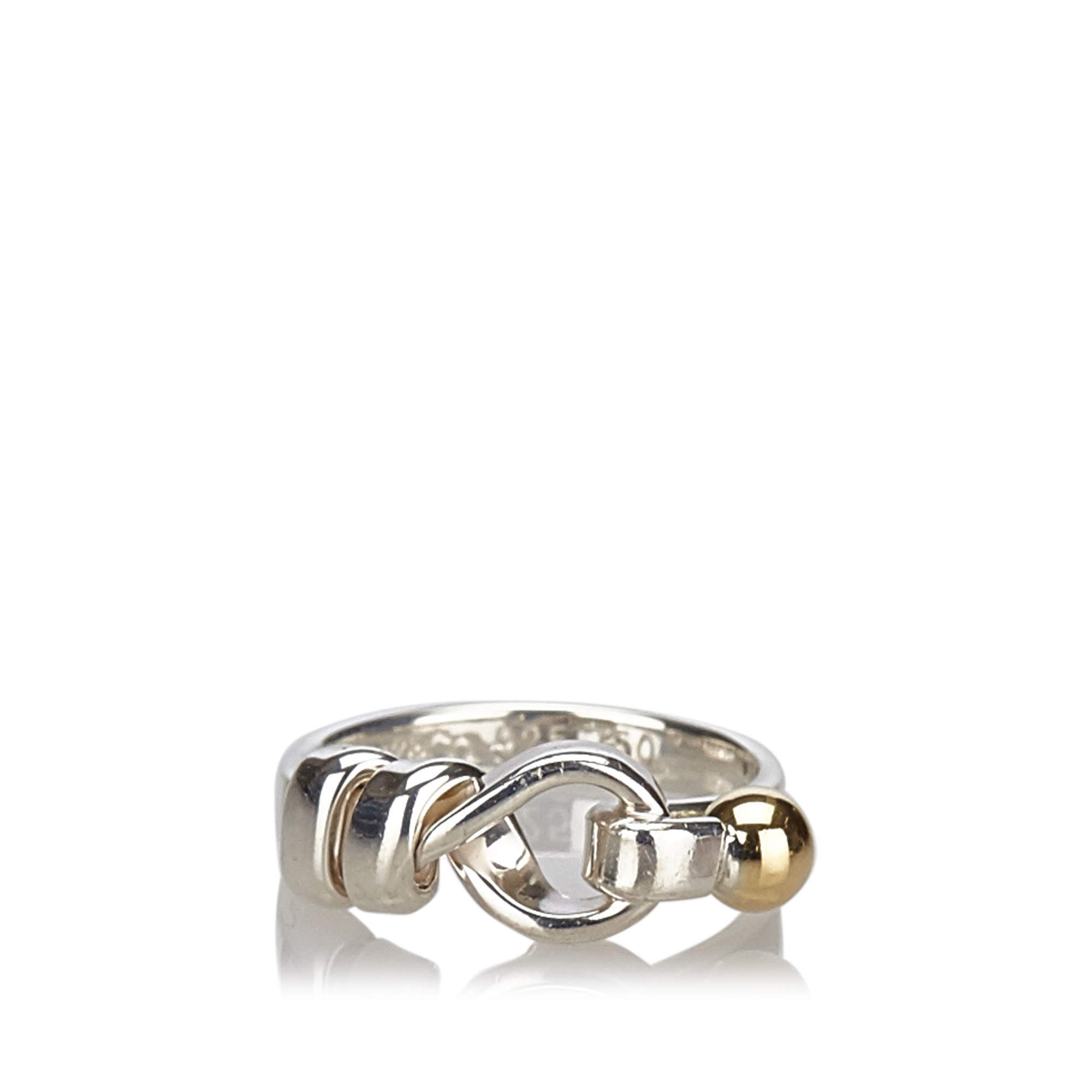 "Image of ""Tiffany & Co. Sterling Silver and Yellow Gold Hook and Eye Ring Size"""