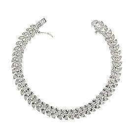 Diamond and Sterling Silver Leaf Bracelet
