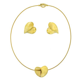 Peter Wong 18k Yellow Gold Heart Earrings and Necklace Set
