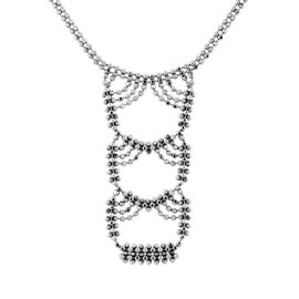 Tiffany and Co. 18K White Gold Woven Look Bead Necklace