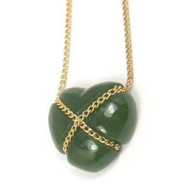 Tiffany & Co. 18K Yellow Gold Green Jade Heart Necklace