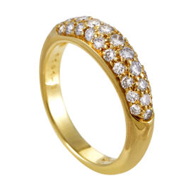 Tiffany & Co. 18K Yellow Gold Partial Diamond Pave Band Ring Size 6.0
